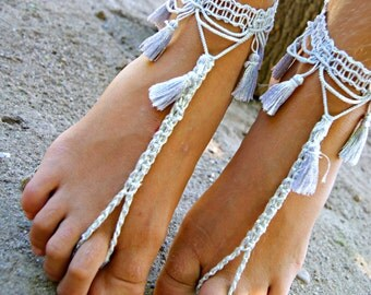 Tassel BAREFOOT sandles, oriental barefoot sandal, belly dance barefoot sandals,silver grey anklet jewelry, foot thongs, bottomless shoes