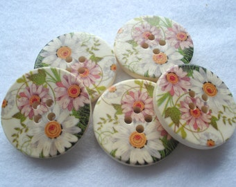 30mm Wood Button White Pink Daisy Print Pack of 5 Large Floral Buttons W3080
