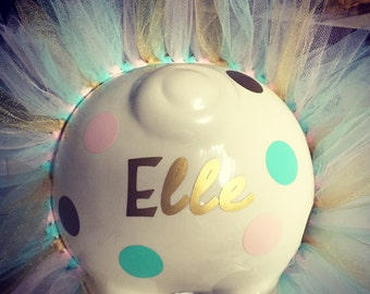 Personalized Jumbo Piggy Bank with tutu, spots and bow