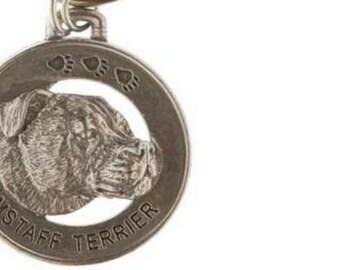 Pewter ~ Amstaff Terrier Keychain ~ DK012