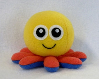 Plush baby octopus toy yellow red blue fleece