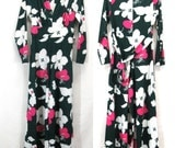 Vintage 70's Hostess Palazzo Pant Jumpsuit Woman' Size Large Disco Bell Bottom Dress Hawaiian Large Scale Floral Green Pink Polyester