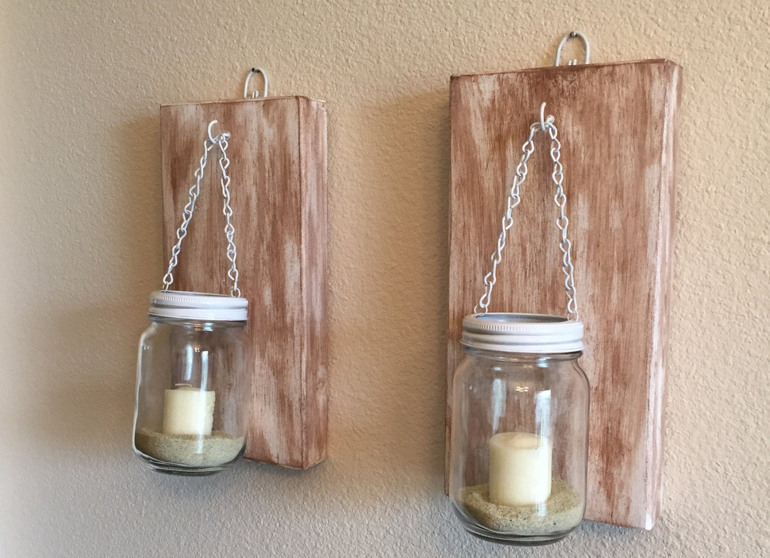 Set of 2 Rustic Mason Jar Wall Sconce Candle Sconces by NARSCH