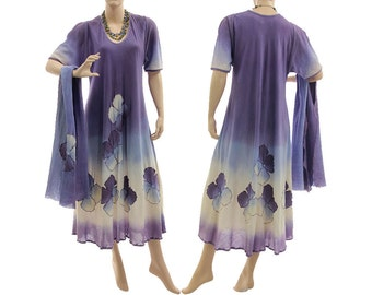 Boho hand dyed maxi dress with scarf, wedding summer party dress cotton in purple blue, art to wear dress plus size women L-XL US size 14-18