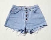 Vintage Textured Levi Shorts Button Up High Waisted Denim Shorts Size 2/3