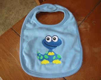 Embroidered Baby Bib -  Bright Blue Dinosaur - Blue Bib
