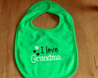 Embroidered Baby Bib -  I Love Grandma - Neutral - Green Bib
