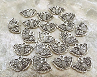 Set of Twenty (20) Pewter Butterfly Charms- 5510
