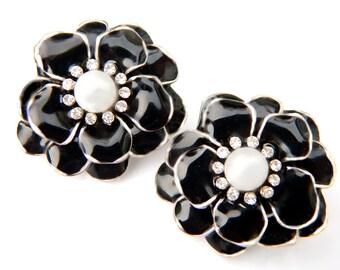 Black Rhinestone Pearl Flower Earrings Elegant Vintage Collectible Jewelry For Women Mystery Triangle Mark