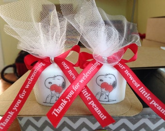 Snoopy Like Baby Shower Favors , Shower Favors, Snoopy Themed Party Favors,  Heart Votive