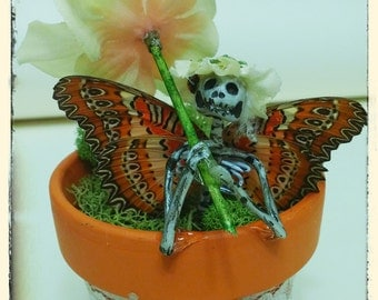 Fairy In A Flower Pot - Samona (Made with Real Butterfly Wings)