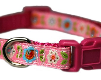 "Teacup Dog Collar 3/8"" Fuchsia Pink Dog Collar"