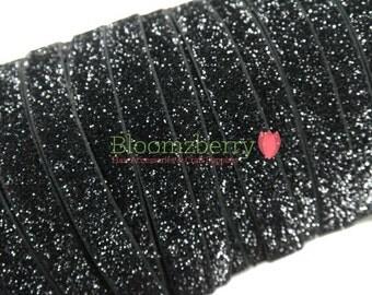 """5/8"""" Glitter Elastic  - Black Color - Black Glitter Elastic - Black Elastic - Black Velvet Glitter Elastic -Hair Accessories Supplies"""