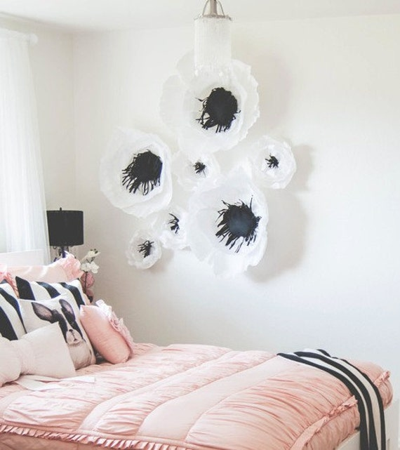 Giant paper flower wall decor anemone and peony crepe paper for Decor using crepe paper