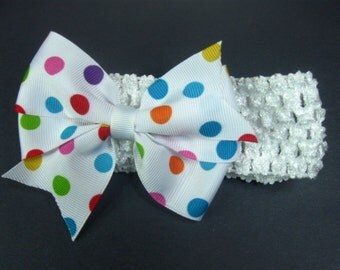 Polka Dot Headband, Baby Headband, Toddler Headband, Baby Girl Headband, Baby Head Band, Bow
