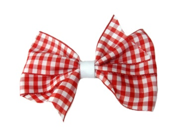 Red Gingham Hair Bow, Girls Hair Accessory, Classic Christmas Hairbow