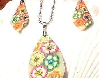 Modern Floral Art Deco Necklace Earring Set
