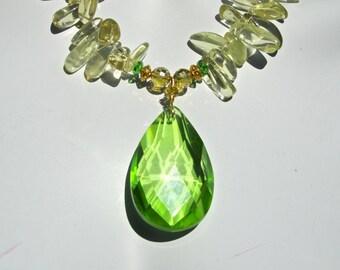 Quartz Statement Necklace, Big Bold Chunky, Lemon Quartz, Lime Green Crystal Teardrop Pendant, Sparkly Necklace, Gift for Her  976
