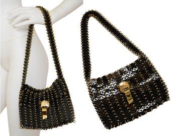 PACO RABANNE Rare 1960s Vintage Metal Disc Handbag Shoulderbag Black Gold Space Age Pristine Condition