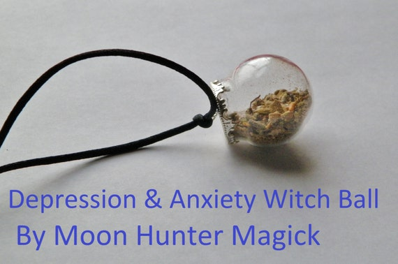 Depression and Anxiety Mini Witch Ball Witch Bottle Pagan Wicca Reiki Charm Talisman
