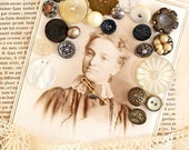 Altered Art Supply*Antique Cabinet Card with Vintage Buttons and Lace*Vintage Inspiration Kit