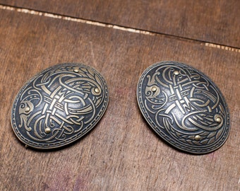 """DISCOUNTED PRICE! In Stock! Ready to Ship! Viking Brass Fibulas """"Ingrid"""" (Pair); Oval Brooches"""