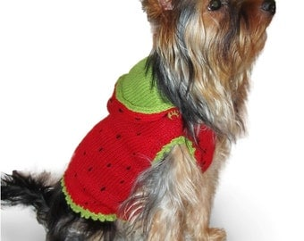 "Small dog clothes dog sweater ""Strawberry"" small dog costume dog clothing Yorkie clothes Yorkie clothing Chihuahua clothing clothes S M L XL"