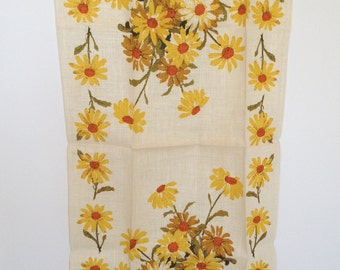 Linen Tea Towel Fallani & Cohn Yellow Daisy Signed Luther Travis