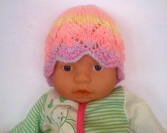 Hippie rainbow multi Ooak unique designer baby girls hand knit,crocheted beanie cap,newborn to 3 months,flower photo prop fall pink lace