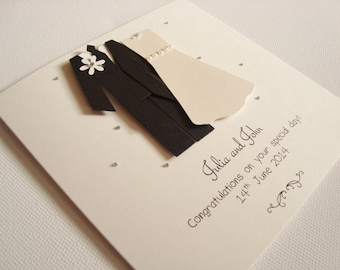 Personalised Handmade Bride and Groom Wedding Day Card