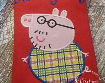 Peppa Pig Daddy Pig Family Birthday Custom Tee Shirt - Customizable -  Adults 165