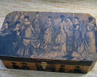 Decoupaged Wooden Hinged Box, with vintage images
