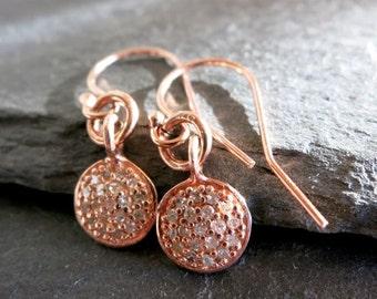 Pave Diamond Rose gold  earrings, 14k Rose gold diamond disc, Dangle earrings, modern feminine gift, mothers day, beachy chic, fine jewelry