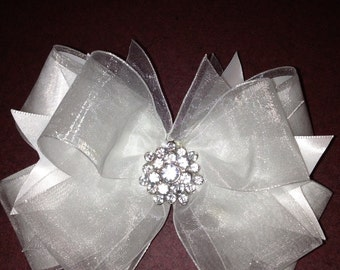 White satin and sheer Hair Bow with Rhinestones