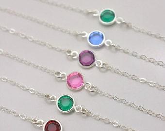 Set of 6 Bridesmaid Birthstone Bracelets, Personalized Bridesmaid Bracelets, Swarovski Birthstone Bracelets, 6 Bridesmaid Bracelets 0304