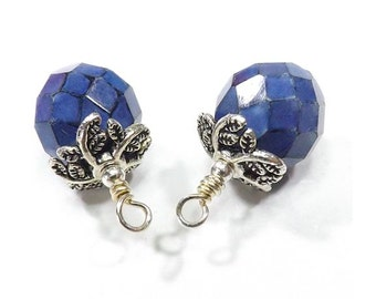 Faceted Cobalt Blue Czech Glass Beads Hand Wrapped into Charms, Wire Wrapped Drop Bead Charms - Sapphire Blue - Sets of 2, 4, or 6