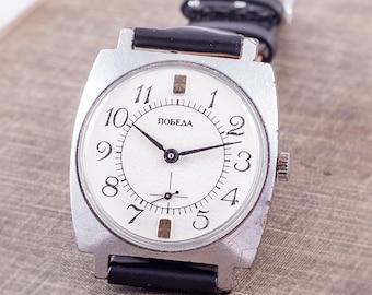 SALE mens dress watch, Pobeda watch, elegant watch, classy watch, retro mens watch, mechanical watch, vintage watch, black strap watch