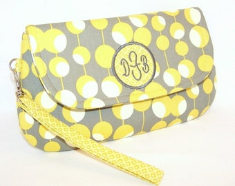 Monogrammed Wristlet/Clutch in Yellow and Grey