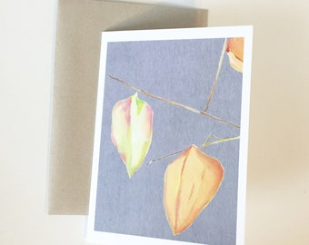Notecard:  Three Lanterns on Grey