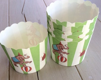 Circus Cupcake Cups Elephants and Circus Characters -Nut, Candy Baking Cups - 12ct -Parties- snacks Vintage circus elephant birthday