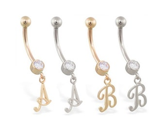 14K real gold belly ring with dangling script initial