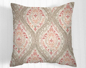 Pillows, Coral Pillow, Decorative Pillows,Pillow Covers   Ivory, tan, pink and coral. Decorative Pillows,, Pillows, Throw Pillow,   Pillow