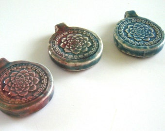 Raku Lotus Pendant Ceramic Large Hole Iridescent Healing Glazed Buddhist Focal Yoga Enlightenment Wholesale Jewelry Supply CrazyCoolStuff