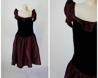 Vintage Prom Dress / 1980's Prom Dress / Vintage Dress / 1980's Cranberry Dress USA Made S/M