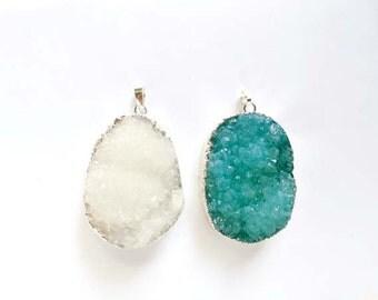 1 Druzy Crystal Quartz Gemstone Pendant - You Choose - 21-41-1