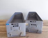 Industrial Card Catalog Drawer - Grey