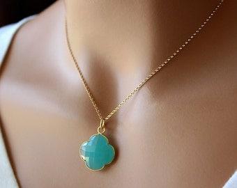 Aqua Clover Shaped Pendant Necklace, Clover Gemstone, , 14k Gold filled, Aqua Chalcedony Jewelry