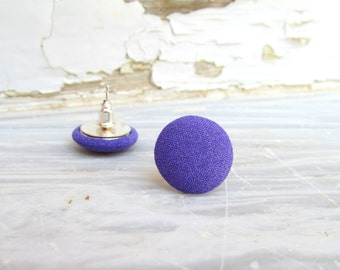 Purple Earring Studs, Fabric Button Posts, Small Posts Studs, Purple Post Earrings,Fabric Button Studs,Minimal Retro Posts,Cute Purple Studs