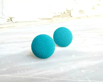Teal Earring Studs, Small Round Earrings, Teal Blue Studs, Fabric Button Studs, Teal Post Earrings, Retro Mini Earrings, Simple Circle Studs