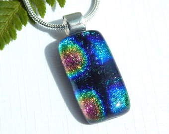 Glass Necklace - Dichroic Glass Pendant - Fused Glass Jewelry - Small Oblong Multicolor Dichroic Pendant